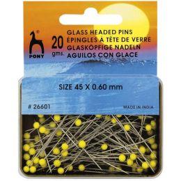 Pony Glaskopfstecknadeln ST 0,60 x 45 mm gelb