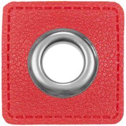 Ösen Patches für Kordeln Lederimitat 8mm rot