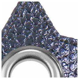 Ösen Patches für Kordeln Lederimitat Stern 8mm marine metallic
