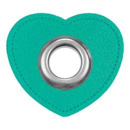 Ösen Patches für Kordeln Lederimitat Herz 8mm mint
