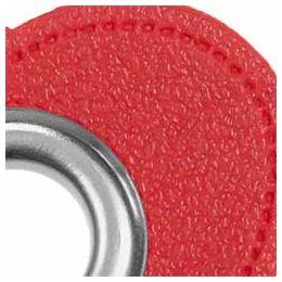 Ösen Patches für Kordeln Lederimitat Herz 8mm rot