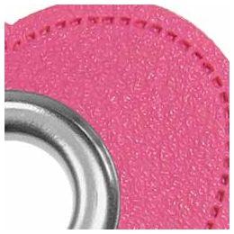 Ösen Patches für Kordeln Lederimitat Herz 8mm pink