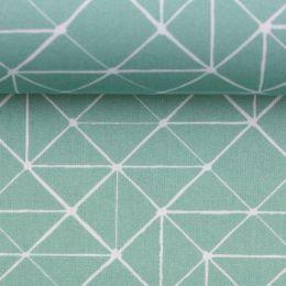 Baumwollstoff Geometrische Linien mint