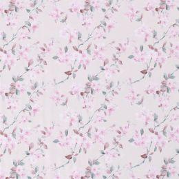 Jersey rosa Blumen auf grau/weiß