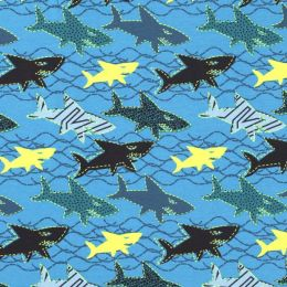 Jersey bedruckt Haie babyblau