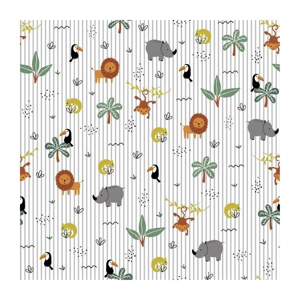 Baumwolle - Brushed Jungle Party light grey