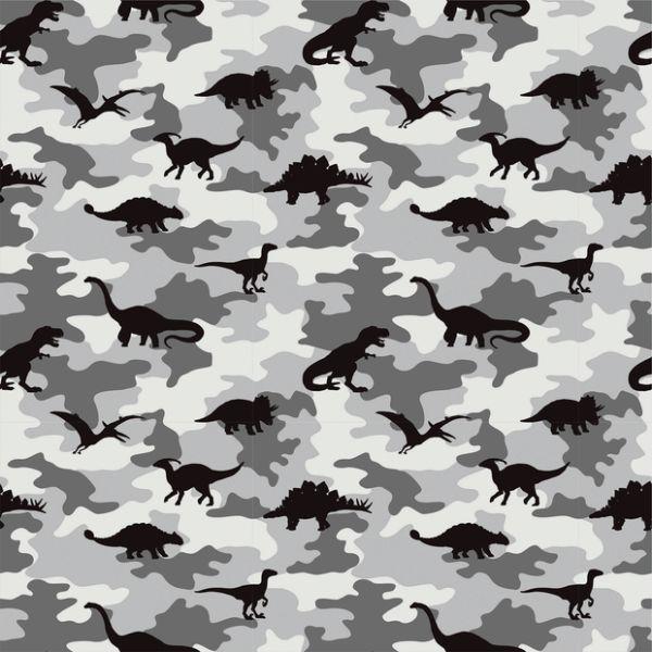 Baumwollstoff Camouflage Dinosaurier mittelgrau