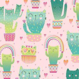 Designer Baumwollstoff Happy Kaktus
